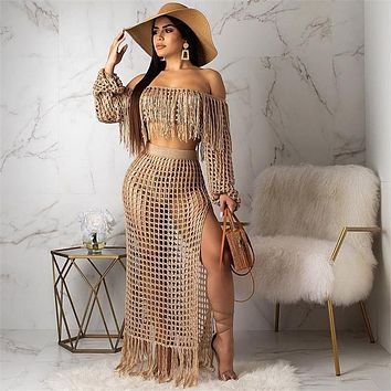 Fringed Tassel Summer Beach Dress Women Sexy Off Shoulder Maxi Dress Long Sleeve Boho Knit Crochet Hollow Out Party Long Dress