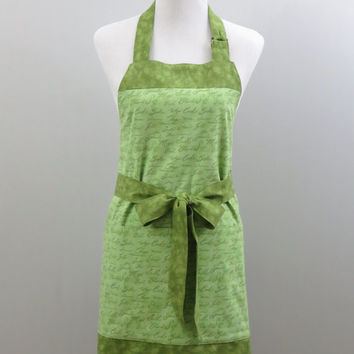 Womens Chef Apron, Cooking Words Green Print, Large Pockets, Fully Lined, 100% Premium Cotton