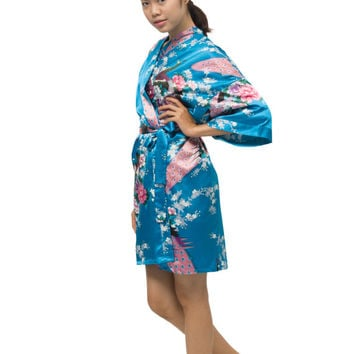 Women Robes, Bridesmaid Robes, Bride Robe, Kimono robe, Personalized Bridesmaid Robe, Bridesmaid gift  -Sky Blue(Short)