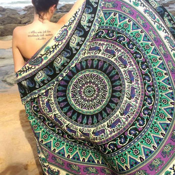 Mandala Boho beach Roundie throw 'Wanderlust' design