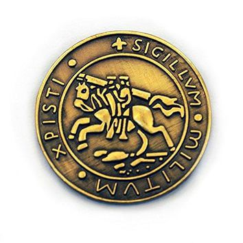 The Masonic Exchange Masonic Knights Templar Seal Crusaders Solomons Temple Round Brass Lapel Pin  78quot Diameter