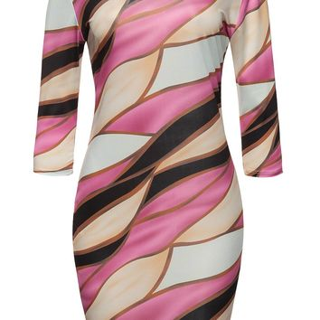 Casual Round Neck Color Block Glamorous Bodycon Dress