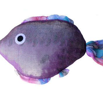 Fish pillow Kids room decor Nautical pillow Lake house pillow Purple fish Sweet soft Big fish Funny pillow Spring Summer gift