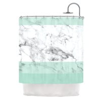 "KESS Original ""Mint Marble Fade"" White Green Shower Curtain"