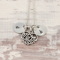 Silver initial necklace with MOM charm sterling silver handstamped mom's necklace - kids names - gift for mom - hand stamped- tiny bits