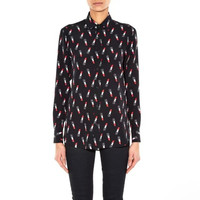 Lipstick Print Long Sleeve Turn-Down Collar Blouse