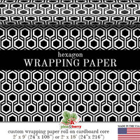 Geometric Hexagon Black And White Wrapping Paper | Custom Black And White Gift Wrap In Two Sizes Great For Any Occasion. Made In The USA