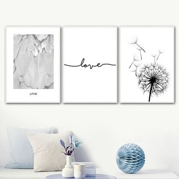 Dandelion Feather Love Quote Wall Art Canvas Painting Nordic Posters And Prints Black White Wall Pictures For Living Room Decor