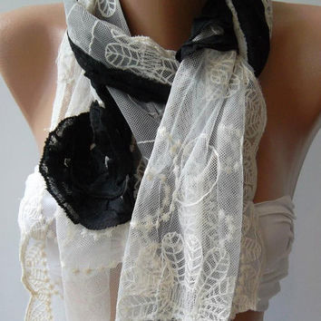 Black - Elegance Shawl / Scarf with Lace Edge-