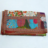 Queen Size Multi Patchwork Indian Kantha Throw Blanket