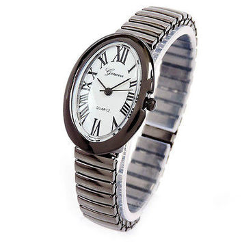Black Oval Face Petite Stretch Band Women's Watch