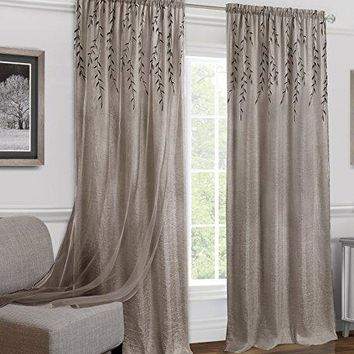 Ben&Jonah Collection Willow Rod Pocket Window Curtain Panel - 42x84 - Toffee