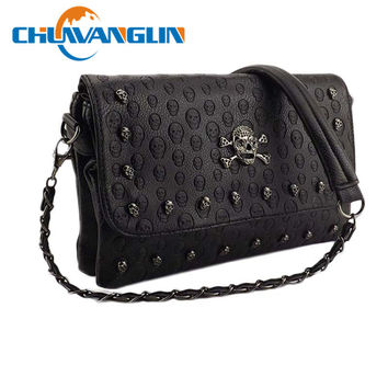 Chuwanglin Female wild  Messenger small bag rivet skull shoulder bag  Women Pu Leather Handbag Purse Designer Hand Bags zl12021
