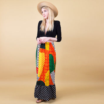 Tribal print maxi skirt / dashiki patchwork abstract ethnic skirt / high waist Vintage 80s bold peasant gypsy skirt / boho bohemian batik