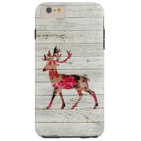 Vintage Floral Deer antlers Gray Retro Wood Tough iPhone 6 Plus Case