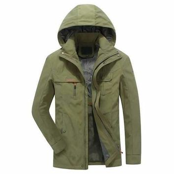 Quickly Dry Detachable Hood Cargo Jackets for Men