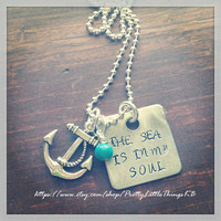 Hand Stamped Aluminum Necklace with The Sea Is In My Soul