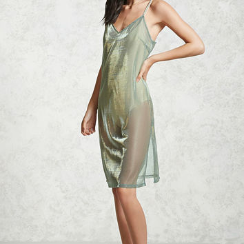 Sheer Metallic Slip Dress
