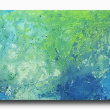 Abstract art canvas blue green
