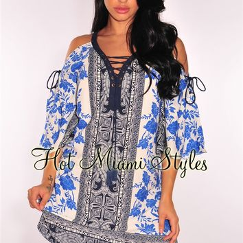 Cream Blue Print Lace Up Bell Sleeves Dress