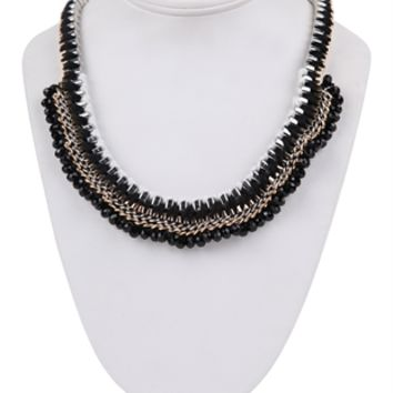 Multi Row Necklace with Threaded Chains