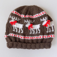 Knit Childs Reindeer Hat, Reindeer Beanie, Christmas Hat