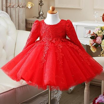 High Quality Red/White baby girls long sleeve 1 year old birthday dress sequin baptism christening wedding dress for infant