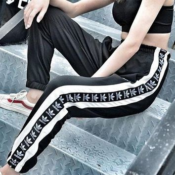 Adidas cloverleaf string standard women's pants summer sports pants casual men's pants back trousers with thin feet for lovers
