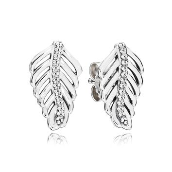 PANDORA Shimmering Feathers Earrings, Clear CZ