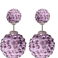 Purpleberry Pavé Crystal Double Stud Earrings
