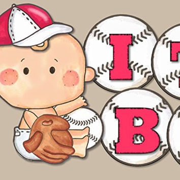 """Baby Baseball """"IT'S A BOY!"""" Baby Shower Banner - Red"""