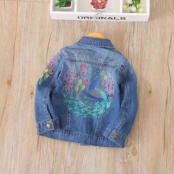 Trendy TBwish Children Outerwear&Coats 2017 New Autumn Jackets Turn-down Collar Embroidered flowers in Denim Jacket 2-9Y AT_94_13