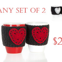 Crochet mug cozy warmer, Mug warmer, hearts, cup cozy, winter accessories, tea cozy, Anthracite Red White , Set of 2, Available in two sizes