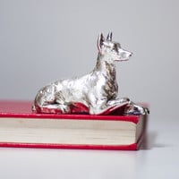 Vintage Dog Sculpture, Silver Plated Ibizan Hound Statue, Gift for Dog Lovers, Dog Figurine, Metal Dog, Animal Collectibles