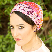 Multi colored head scarf – Floral headcovering  – Hair snoods – Chiffon Headpiece
