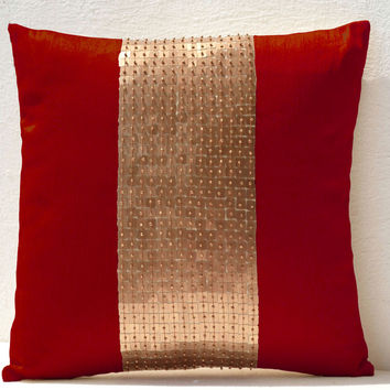 Throw Pillows -Red gold color block in silk and sequin bead detai- Couch pillows- Sofa pillow- 16X16 red pillow- Gift pillow- Toss pillows