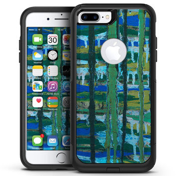 Abstract Green Plaid Paint Wall - iPhone 7 or 7 Plus Commuter Case Skin Kit