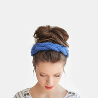Blue braid headband / Hand knitted