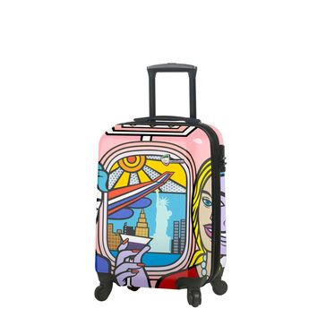 """Jozza """"First Class"""" Graphic Hardside Spinner Carry On Luggage"""
