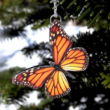 Monarch Butterfly necklace-Colorful orange butterfly necklace-Free Shipping Worldwide-Butterfly jewelry-Mothers day gift