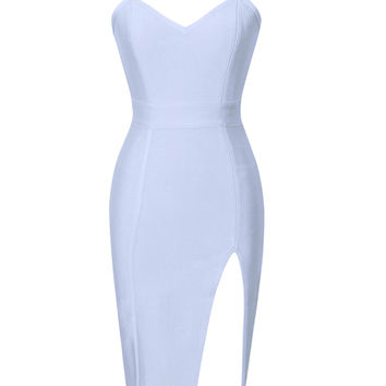 Ice Blue Erika High Slit Bustier Top Bandage Dress