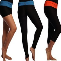 Dry Fit Yoga Workout Foldover Shorts Capris Pants Leggings