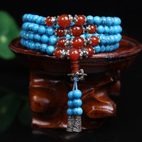 New Fashion 6mm Blue Turquoise Stone Beads Tibetan Buddhist 108 Prayer Beads Necklace Gourd mala Prayer Bracelet for Meditation