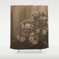 Sepia Blossom Shower Curtain by Maria Moreno