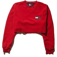 Tommy Hilfiger Casual Long Sleeve Crop Top Sweater Pullover