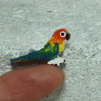 Sun Conure MINI magnet Handmade pottery magnet Tiny animal
