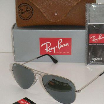 ESB2N Cheap Ray Ban Aviator SUNGLASSES RB 3025 W3227 silver Frame SILVER MIRROR FLASH LENS outlet