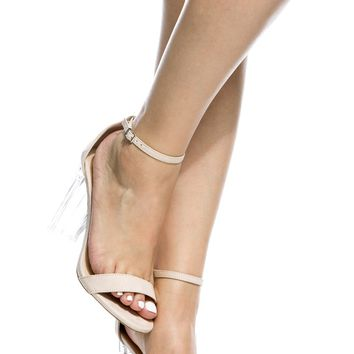Nude Faux Suede Chunky Translucent Ankle Strap Heels @ Cicihot Heel Shoes online store sales:Stiletto Heel Shoes,High Heel Pumps,Womens High Heel Shoes,Prom Shoes,Summer Shoes,Spring Shoes,Spool Heel,Womens Dress Shoes