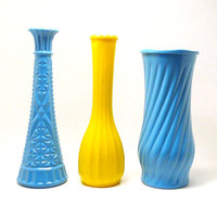 vintage vases milk glass  //  turquoise bright yellow by nashpop