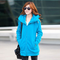 3032 XXXL XXXXL Plus Size 2016 New Spring Winter Quality Fleece Heavy Keep Warm Hoody Woman's Coat Jacket Hoodies Sweatshirts